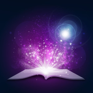 Open book with magical purple light and stars exploding from it.
